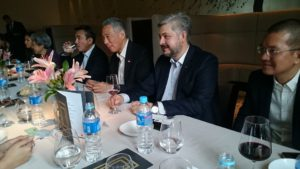 Mr Oleg Gorbulin at the Singapore Business Federation luncheon with the Prime Minister of Singapore Mr Lee Hsien Loong