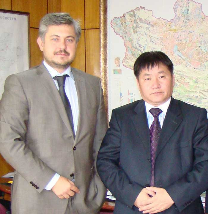Mr Oleg Gorbulin With Mr Dashdorjiyn Zorigt, Minister Of Minerals And Energy In Mongolia