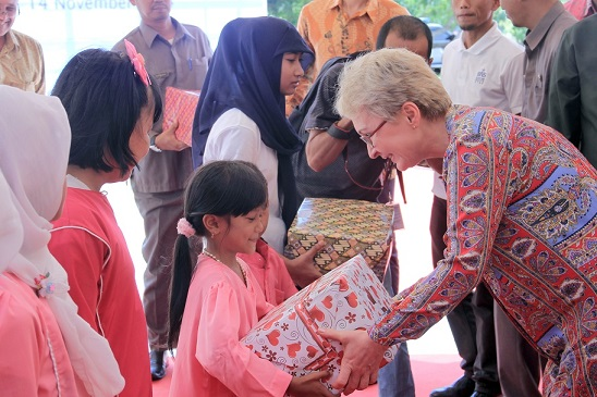 Presenting Gifts To The Local School At Berakit, Bintan